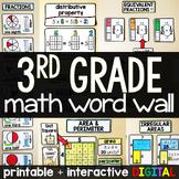 3rd Grade Math Word Wall - print and digital