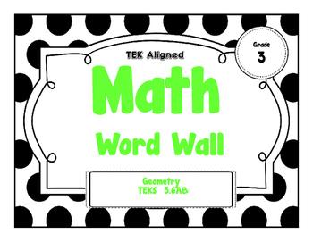 3rd Grade Math Word Wall -Geometry TEKS Aligned!