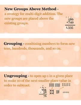 3rd Grade Math Vocabulary (Math Expressions Unit 4)