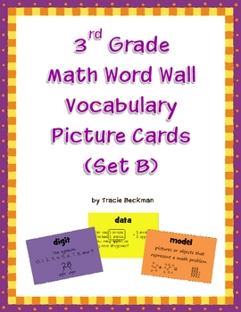 3rd Grade Math Word Wall Vocabulary Picture Cards (Set B)