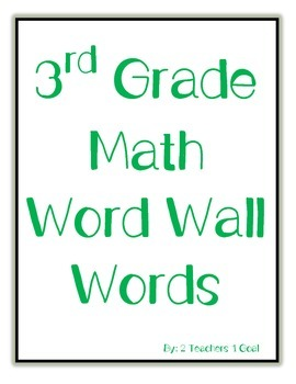 3rd Grade Math Word Wall Words