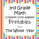 3rd Grade Math Worksheets & Assessments Common Core Aligned *EDITABLE*