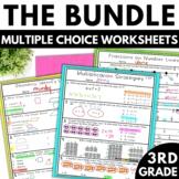 3rd Grade Math Worksheets | Multiple Choice Bundle