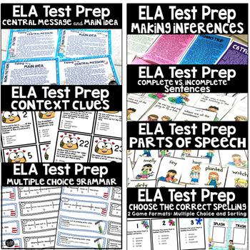 3rd Grade Math and ELA State Test Prep Task Cards Bundle