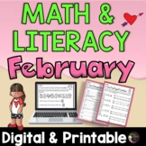 3rd Grade Math and Literacy for February Worksheets   Digital and Printable