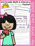 Third Grade May / Spring / End of School No Prep Math and Literacy Packet