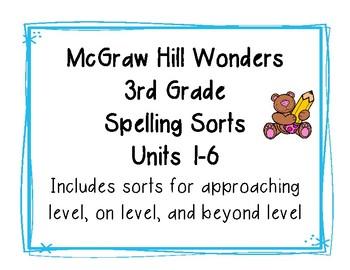 3rd Grade McGraw HIll Wonders Spelling Sorts Growing Bundle Units 1-6