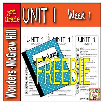 3rd Grade McGraw-Hill  WONDERS  Vocabulary Lists UNIT 1- Week 1