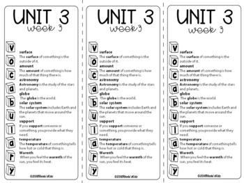 3rd Grade McGraw-Hill   WONDERS  Vocabulary Lists   UNIT 3