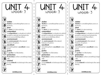 3rd Grade McGraw-Hill   WONDERS  Vocabulary Lists  UNIT 4