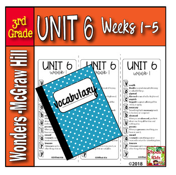 3rd Grade   McGraw-Hill   WONDERS  Vocabulary Lists UNIT 6
