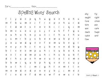 3rd Grade McGraw Hill Wonders Spelling Unit 2 Word Work - Approaching Level