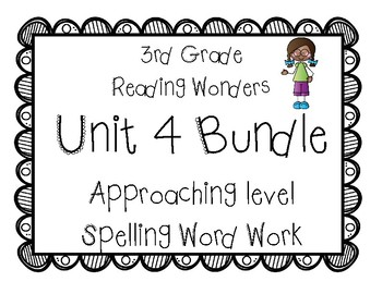 3rd Grade McGraw Hill Wonders Spelling Unit 4 Word Work - Approaching Level