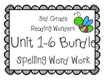 3rd Grade McGraw Hill Wonders Spelling Word Work Packets Units 1-6 Bundle