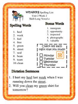 3rd Grade McGraw-Hill Wonders Unit 2 Spelling Lists