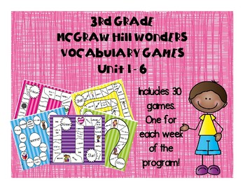 3rd Grade McGraw Hill Wonders Vocabulary Games Bundle Unit 1-6