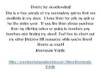 3rd Grade McGraw Hill Wonders Vocabulary Games Unit 1 Week 1 - Freebie