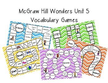 3rd Grade McGraw Hill Wonders Vocabulary Games Unit 5