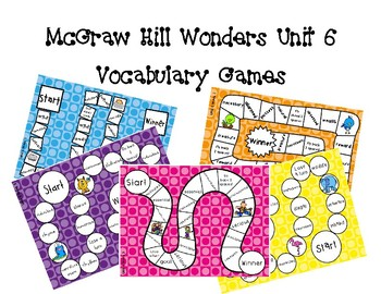 3rd Grade McGraw Hill Wonders Vocabulary Games Unit 6