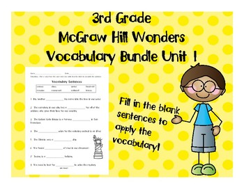 3rd Grade McGraw Hill Wonders Vocabulary Packet Unit 1