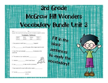 3rd Grade McGraw Hill Wonders Vocabulary Packet Unit 3