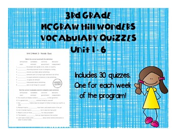 3rd Grade McGraw Hill Wonders Vocabulary Quizzes - Grow Bundle Units 1 -6