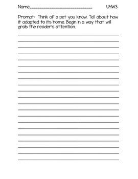 3rd Grade McGraw-Hill Wonders Writing Prompts Unit 4