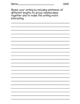 3rd Grade McGraw-Hill Wonders Writing Prompts Unit 6