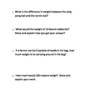 3rd Grade: Measurement, Mass, Liquid Volume Word Problems #2