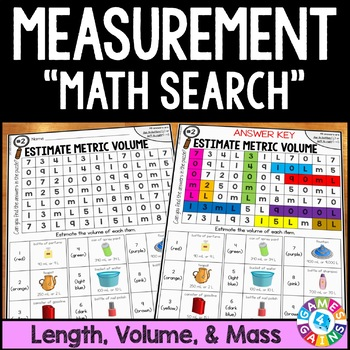 3rd Grade Measurement Math Search {3.MD.2, 3.MD.4}