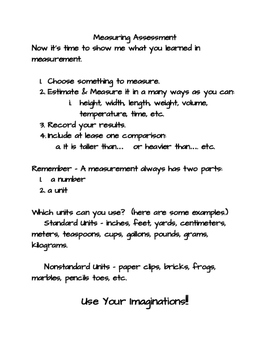 3rd Grade Measurement Project Assessment/Project