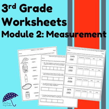Engage New York Math Aligned Worksheets: Grade 3, Module 2 (Measurement)