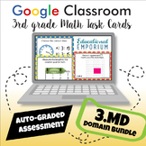 ⭐ GOOGLE CLASSROOM ⭐ 3rd Grade Measurement and Data Task Cards BUNDLE