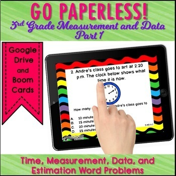 Test Prep Task Cards Google Classroom™ 3rd Grade Measurement & Data Math Review
