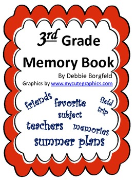 3rd Grade Memory Book for End of Year Using Reading/Writin