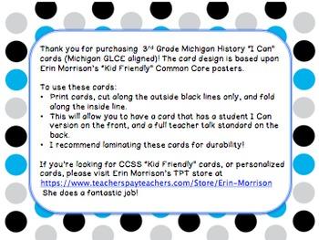 3rd Grade Michigan Studies I Can Statements