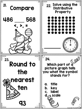 3rd Grade Mid Year Math Review Scoot:  New Years Themed