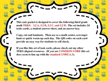 3rd Grade Minion Math Task Cards with QR Code Answers - Place Value