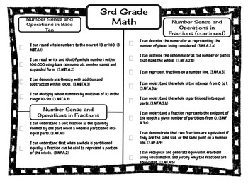 "3rd Grade Missouri Learning Standards ""I can"" Statements & Checklists Bundle"