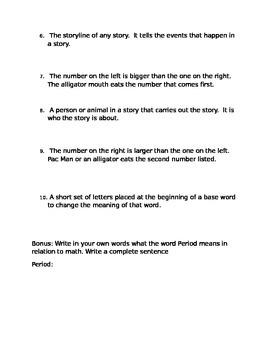 3rd Grade Mixed ELAR/Math Vocabulary Test One