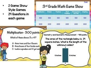3rd Grade Math Test Preparation PowerPoint Game Bundle