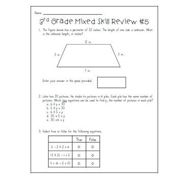 3rd Grade Mixed Skill Review - TNReady and TCAP format