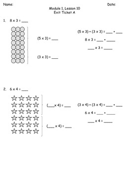 3rd Grade Math Engage New York Alternative Exit Ticket Worksheets: Module 1