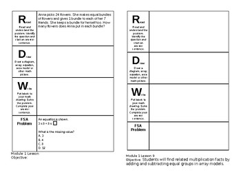 3rd Grade Module 1 Lesson 1-10 Journal Pages Engage NY Eureka