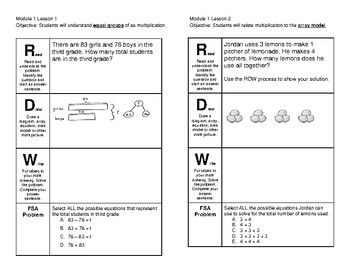 3rd Grade Module 1 Lesson 1-21 Journal Pages Engage NY Eureka