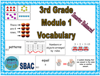3rd Grade Module 1 Vocabulary - SBAC - Editable