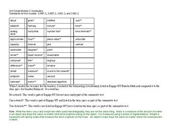 3rd Grade Module 2 Vocabulary - Editable - SBAC