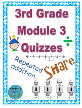 3rd Grade Module 3 Quizzes for Topics A to F - Editable- SBAC