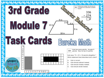 3rd Grade Module 7 Task Cards - word problems and perimeter - Editable