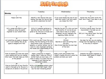 3rd Grade Monthly Reading Log Calendar September 2014